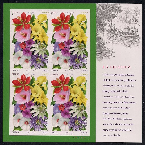 USPS Forever Flowers Stamps - Sheet of 16 La Florida postage stamps