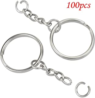 """100pcs 1""""/25mm Metal Split Key Ring with Chain Silver Key Ring Keychain Ring Parts Open Jump Ring and Connector Accessories for DIY (100pcs Split Key Ring with Chain)"""