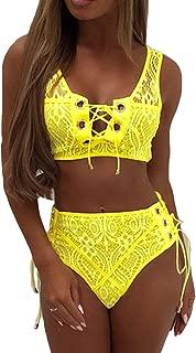 Woman's Lace Up Front Tie Side Bottom 2PCS Bikini Set Lace Swimwear