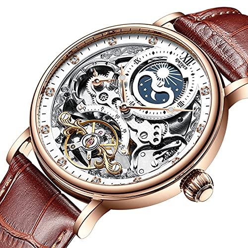 Reloj de pulsera automático para hombre con esqueleto mecánico, fondo de cristal, números romanos, esfera resistente al agua, color negro, con correa de piel marrón