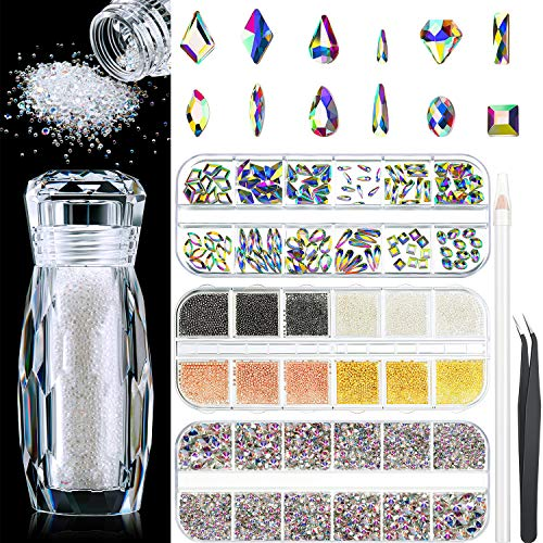 120 Pieces Multi Shapes Glass Crystal Rhinestones, 2000 Pieces AB Nail Art Rhinestones, 12 Grids Nail Micro Caviar Beads, Micro Nail Beads with Rhinestone Picker Dotting Pen, Tweezer for DIY Nail