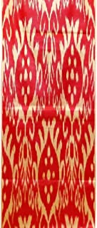 UZBEK HANDCRAFTED WOVEN SILK-COTTON IKAT ADRAS FABRIC By The Meter 1,09 Yard (multi3)