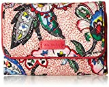 Vera Bradley womens Iconic RFID Riley Compact Wallet, Signature Cotton, Stitched Flowers, One Size
