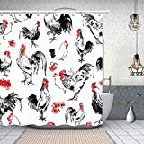 NYMB Auspicious Decor Watercolor Chicken Shower Curtain,Polyester Fabric American Western Farm House Bathroom Decorations, Rooster Bath Curtains Hooks Included, 69X70 inches (Multi15)