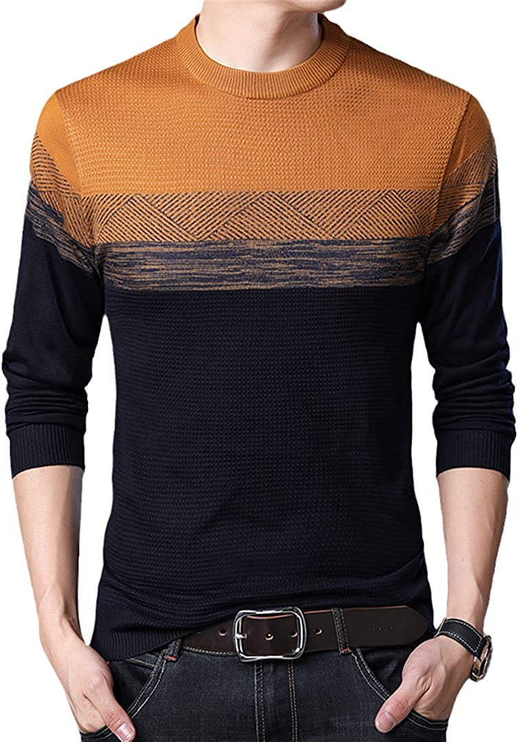 Sinubiser Men'S Casual Long Sleeve O-Neck Sweater Contrast Color Pullover Clothing