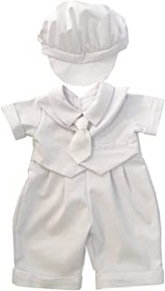 BBVESTIDO Baby Boy Christening Baptism Outfit Short Sleeve with Hat White 100% Cotton