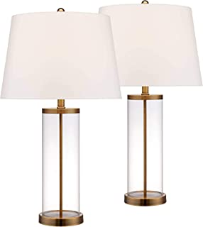 Coastal Table Lamp Glass Cylinder Gold Fillable White Drum Shade for Living Room Family Bedroom Bedside Nightstand - 360 Lighting