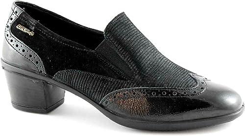 Enval Enval SOFT chaussures noires 69150 mocassins talon orteil peindre broderie  plus d'escompte