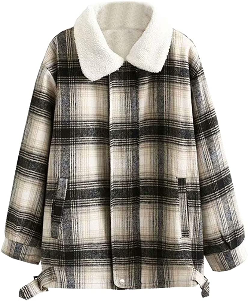 LifeShe Women's Plaid Flannel Sherpa Fleece Shirt Lined Jacket Faux Fur Winter Quilted Jacket Oversized