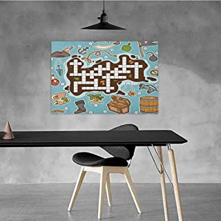 Office Decorative Oil Painting Word Search Puzzle Beautifully Decorated Kids Cartoon Game Grid Numbers Finding The Right Words Pirate Icons W24 x L16 Multicolor