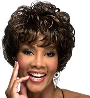 Dark Brown Short Curly Wigs with Bangs Full Synthetic Wavy Wig for Black Women