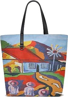 Women Colorful Landscape Hand Painted Acrylic Canvas Handle Satchel Handbags Shoulder Bag Tote Purse Messenger Bags