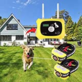 OKPET Wireless Dog Fence Pet Containment System, Wireless Fence Dog Boundary Container, Adjustable 1000 Feet Range, Waterproof Dog Collar Receiver, Harmless for All Dogs