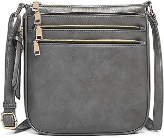 Miss Lulu Women Cross Body Bag Pu Leather Messenger Shoulder Satchel with 3 Front Zipped Pockets