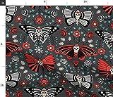 Spoonflower Stoff – Schmetterlinge Totenköpfe dunkle