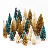 AerWo 24PCS Artificial Mini Christmas Trees, Upgrade Sisal Trees with Wood Base Bottle Brush Trees for Christmas Table Top Decor Winter Crafts Ornaments Green, Gold and Ivory