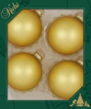 """Box of 4 Large 3-1/4"""" Krebs Glass Ball Christmas Ornaments (Gold Velvet)"""