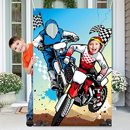 PANTIDE Motocross PhotoDoorBannerBackdropProps,Large Satin Photo Background Face Photography Banner Decor Dirt Bike Theme Party Favor Supply Decorations Funny PartyGames for Kids, 59x39Inch