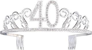Frcolor Compleanno Tiara Corona Cristallo Cerchietto con pettine per 40° festa di compleanno