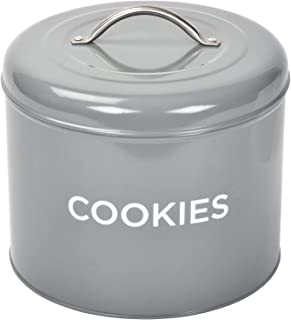 TIN COOKIE JAR By Spigo Great for Storing All Your Cookies and Delicious Treats, Durable Construction And Stylish Retro Design, 1.56 Gallons (Grey)
