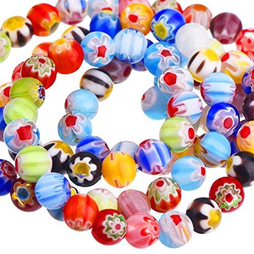 Sumind 200 Pièces 6 mm Millefiori Perles Rondes en Verre avec Une Seule Fleur pour la Fabrication de Bijoux Fournitures de Broderie Artisanale, 6 mm de Diamètre