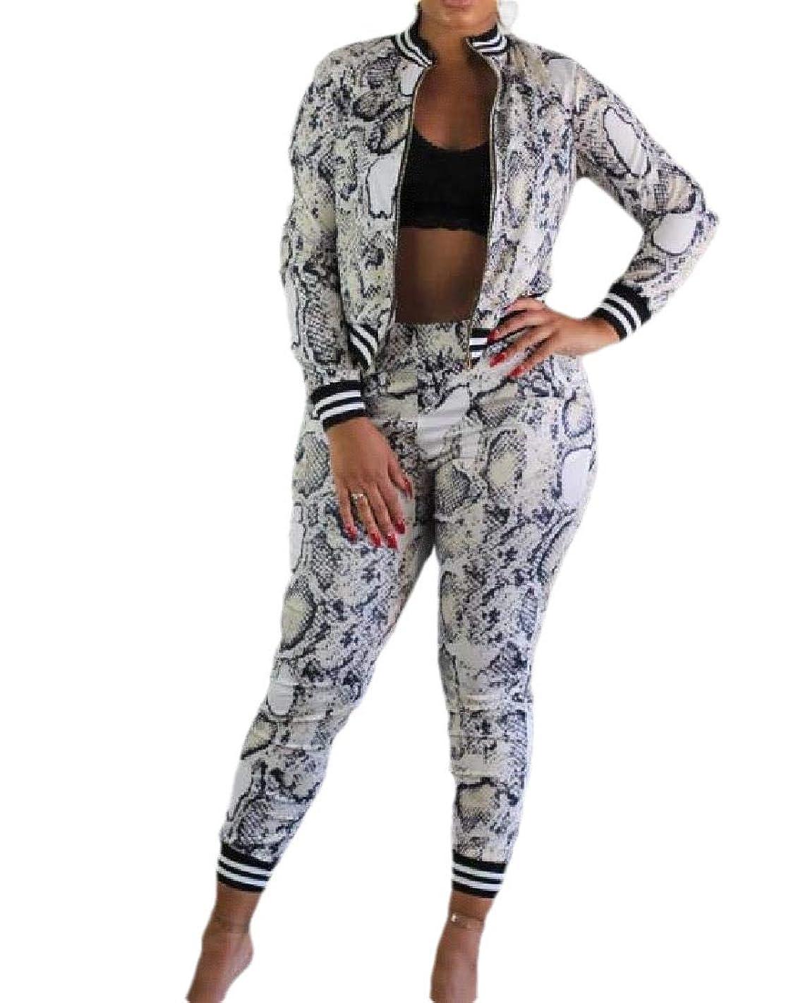 不安定上向き典型的なRomancly Women 2pcs Set Zipper Casual Leisure Snake Print Active Sweatsuit Set