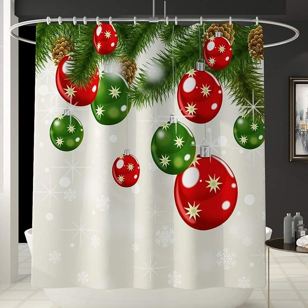 エゴイズム落ち込んでいる残酷なクリスマスベルパターン楽しいシャワーカーテン風呂アカウントは色を消しません汎用性の高い快適な浴槽のシャワーカーテン浴室防水カーテン180センチ* 180センチ洗濯機で洗える フェンコー