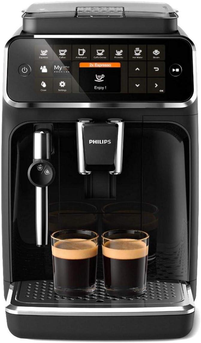 Philips EP4321/50 Serie 4300 Cafetera superautomática, 5 variedades de café, Espumador Pannarello, Molinillo cerámico, Pantalla táctil
