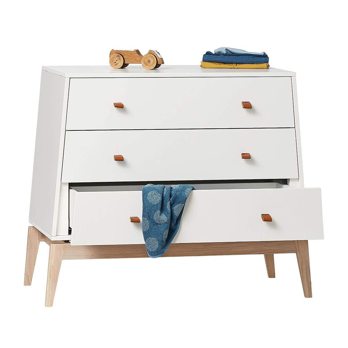 Leander Luna Babybett 20x20cm   weiß/Eiche + MATRATZE Comfort+20 ...