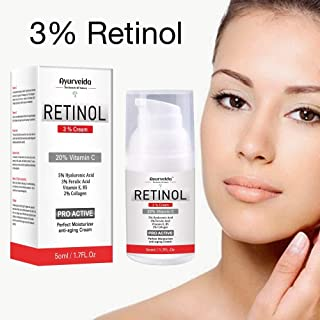 3% Retinol Face Cream-Serum with Vitamin C, Hyaluronic Acid, Vitamin E,B5, 2% Collagen - Perfect Moisturizer Anti-aging Cream
