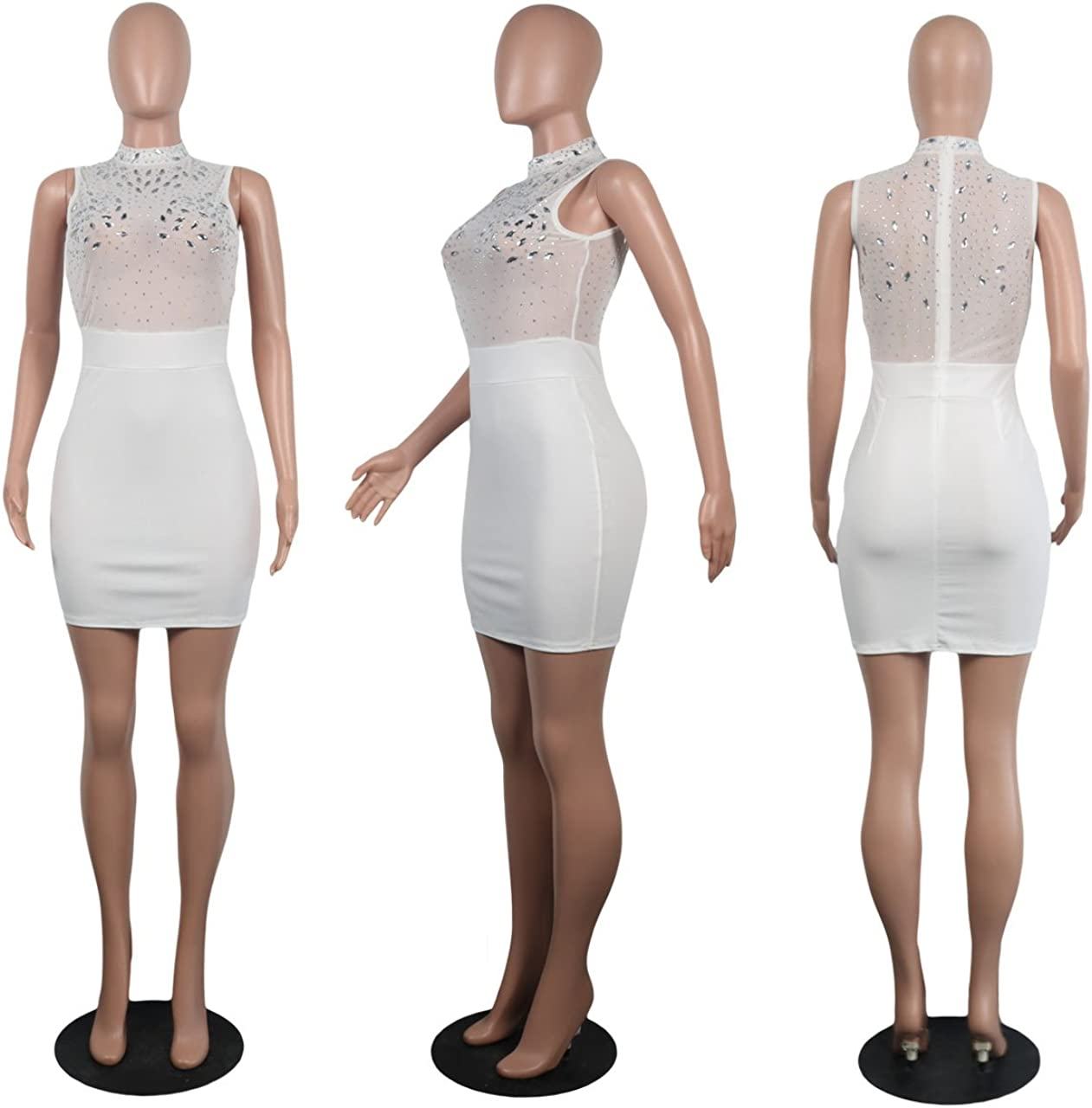 Choichic Women's Rhinestone Bodycon Mini Dress - Sexy Sleeveless Mesh Club See Through Dress