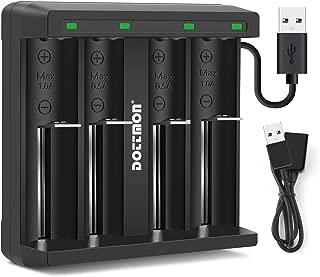 DOTTMON LED 4-Slots Intelligent Universal Battery Charger for 3.6V/3.7V Li-ion 10440 14500 14650 16340 17670 18500 18650 18700 22650 20700 21700 22700 25500 26650 26700 Batteries