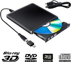 Externe Graveur Blu Ray 3D Lecteur CD DVD USB 3.0, Ultra Slim de Portable DVD CD-RW pour..