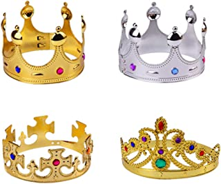 NUOBESTY Glod Sliver Party Queen Crown Plastic King Crown Antique Royal Medieval Crown Banquet Prop for Carnival Cosplay Party Favor Gifts 4pcs