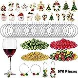 Cosa si ottiene: decorazione in vetro del vino di Natale, 50 pezzi 25 mm anelli di fascino vetro del vino 25 mm, 300 pezzi 4mm perline d'oro, 100 pezzi 6mm perline rosse e 100 pezzi 6mm perline verdi, 20 pezzi ciondoli fascino natalizio, 100 pezzi di...