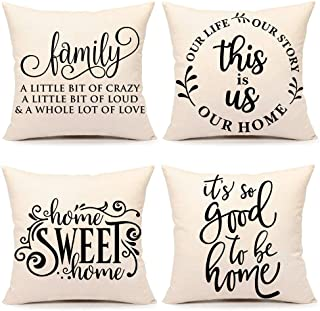 4TH Emotion Farmhouse Decoration Pillow Covers 18x18 Set of 4 Family Saying This is us Our Home Cushion Case for Sofa Couc...