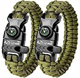 A2S Protection Paracord Bracelet K2-Peak – Survival Gear Kit with Embedded Compass, Fire Starter, Emergency Knife & Whistle (Green/Green 8')