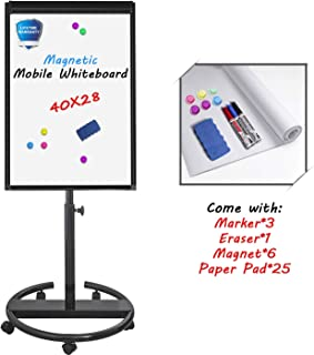 Mobile Whiteboard Standing Dry Erase Board Easel– 40x28 inches Magnetic Whiteboard with 25 Sheets Paper Pad, Black
