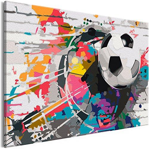 murando - Malen nach Zahlen Fussball 60x40 cm Malset mit Holzrahmen auf Leinwand für Erwachsene Kinder Gemälde Handgemalt Kit DIY Geschenk Dekoration n-A-0558-d-a