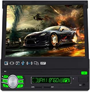7-inch Automatic Retractable Screen Single DIN in-Dash GPS Navigation for Car with Rear View Camera,Android System,Support Offline GPS Navigation,Flip Out Touch Screen Car Stereo