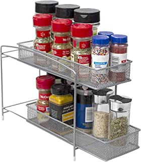 Home Basics 2 Tier Mesh Steel Helper Shelf Spice & Condiments Rack with Removable Sliding Baskets, Ideal for Cabinet Kitch...