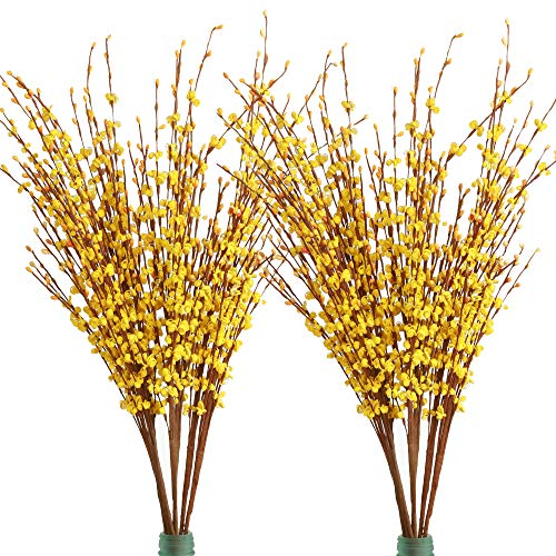 Famibay 20 PCS Artificial Winter Jasmine Flowers PE Fake Flowers for Home Wedding Party Store Decoration (Yellow)