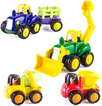 KidPal Baby Toy Car for Toddlers Baby -Toy for -1 2+ -Years -Old Boy & Girl Push and Go Car, 4 Sets Tractor, Truck, D...
