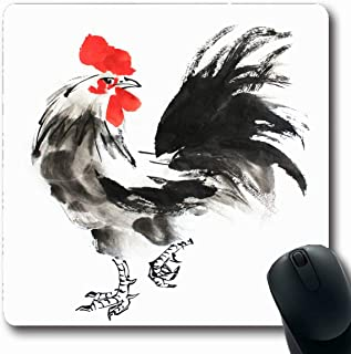 Ahawoso Mousepad Oblong 7.9x9.8 Red Year Chinese Ink Painting Rooster On Animals Wildlife Chicken Lunar Japanese Brush Calendar Bird Non-Slip Rubber Mouse Pad Office Computer Laptop Game Mat