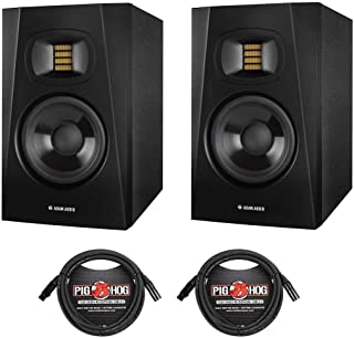 """Adam Audio Professional T-Series T5V 5"""" 70W 2-Way Active Nearfield Monitor - Pair - with 2 Pack 15' 8mm XLR Microphone Cable"""