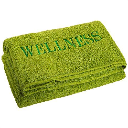Sauna-Handtuch Strandlaken | verschiedene Farben | 80 x 200 cm Baumwolle Frottee | aqua-textil 0010145 | mit Stickerei | Wellness uni grün