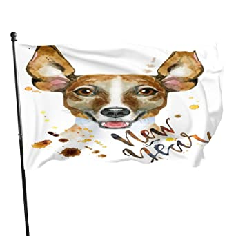 IBILIU Cute Dog Garden Flag 3x5 Ft,Jack Russell Terrier Doggy Inscription New Year Brown White Home Decoration Flag Banner For Courtyard Porch Lawn Outdoor