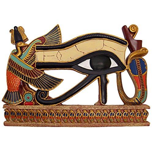 Design Toscano Ägyptische Deko Auge des Horus Wandskulptur Plakette, Polyresin, vollfarbe, 30 cm
