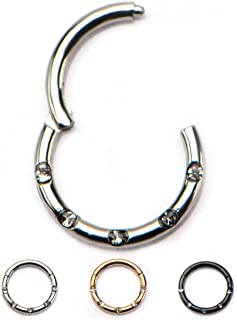 Hinged Gemmed Seamless WildKlass Septum Clicker Ring 316L Surgical Steel (Sold Individually)