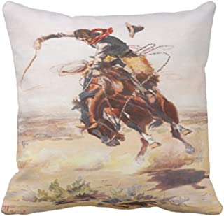 Emvency Throw Pillow Cover Vintage Wild West Cowboy On Bucking Horse Western Decorative Pillow Case Home Decor Square 18x1...